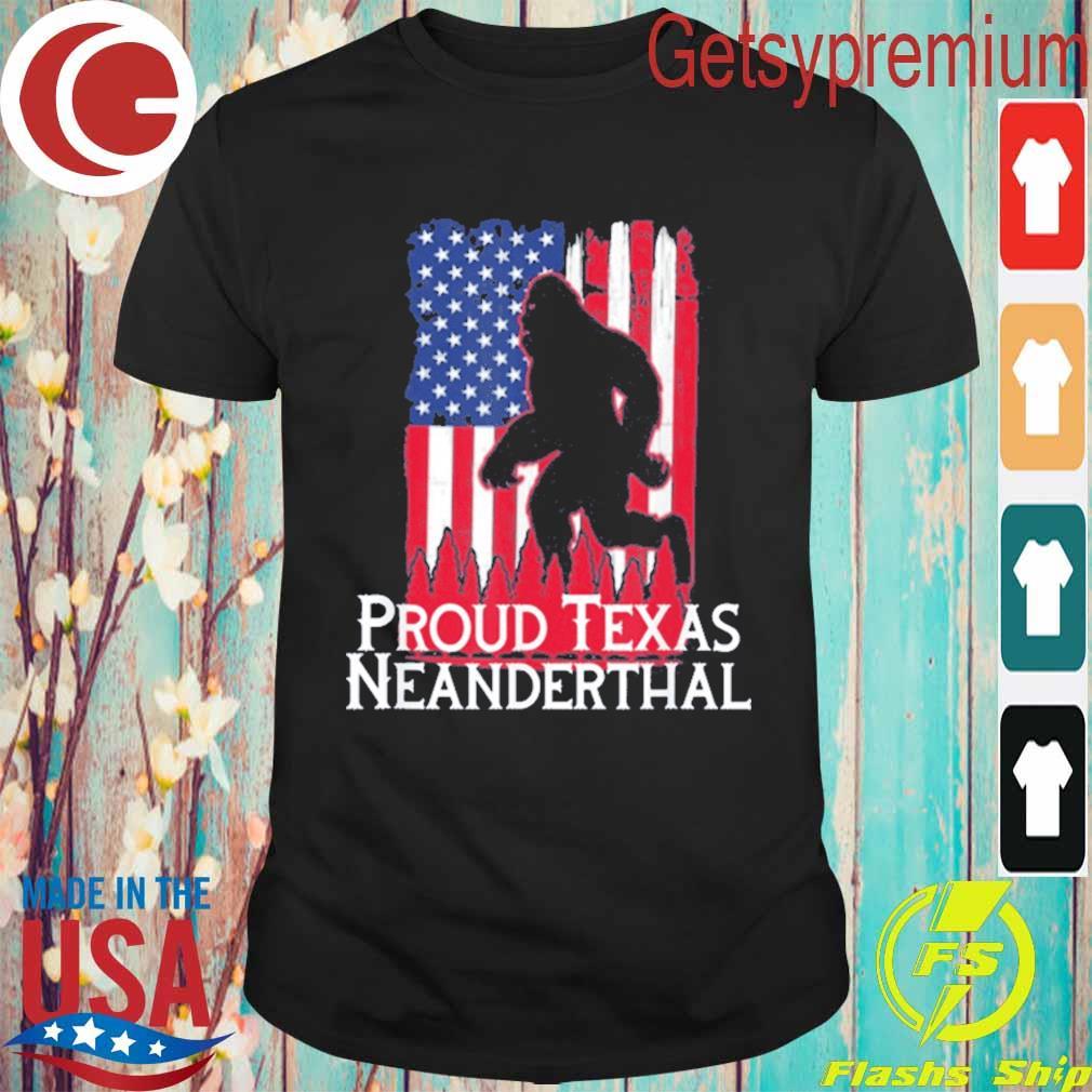Proud Texas American Neanderthal US Flag T-Shirt