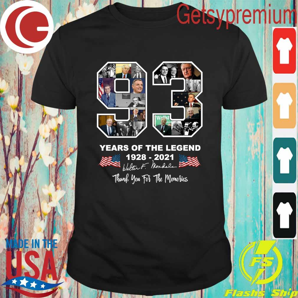 Official Walter Mondale 93 year of the Legend 1928 2021 thank you for the memories signatures shirt