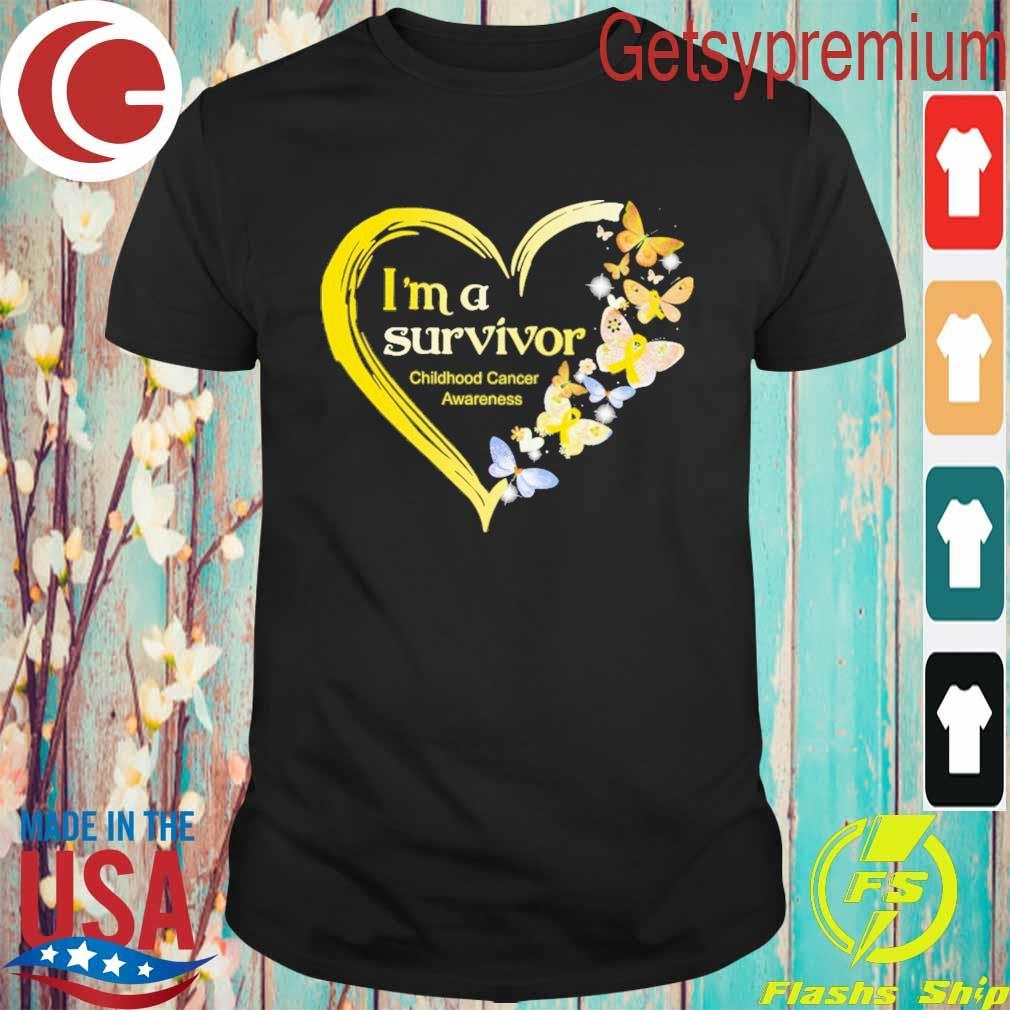 Official Heart Butterflies Blue I'm A Survivor Childhood Cancer Awareness shirt