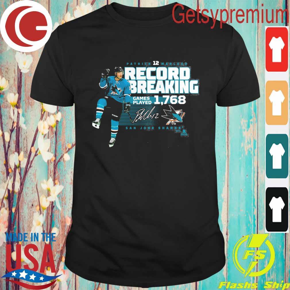San Jose Sharks Patrick Marleau Fanatics Branded NHL Record Setter T-Shirt