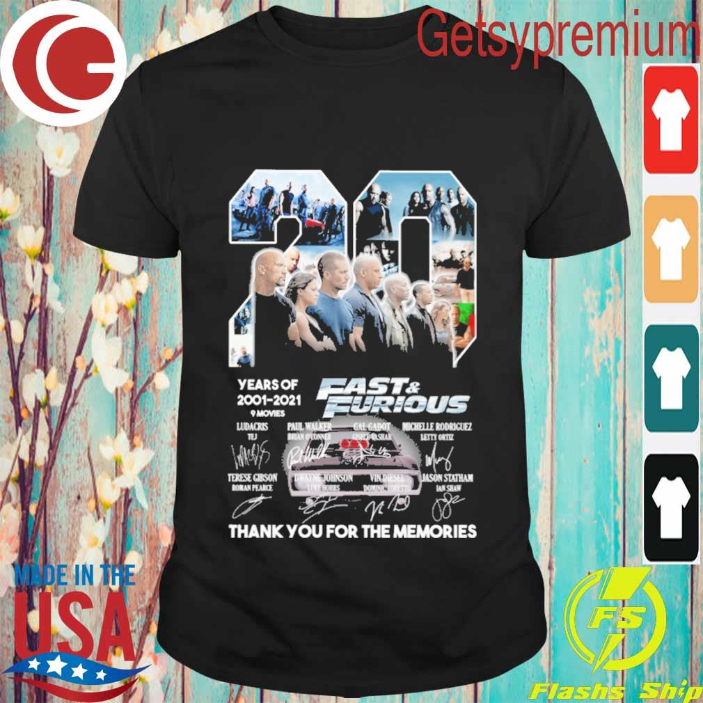 20 Years of 2001 2021 9 movies Fast & Furious thank you for the memories signatures shirt
