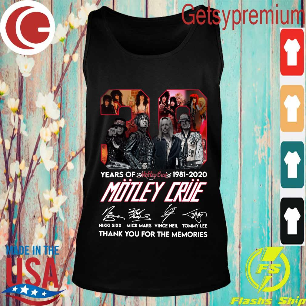 39 years of 1981 2020 Motley Crue thank You for the memories signature s Tank top