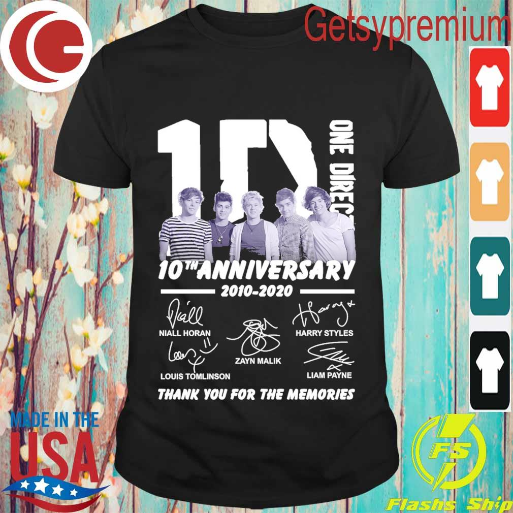 One Direction 10th Anniversary 2010-2020 thank you for the memories signatures shirt