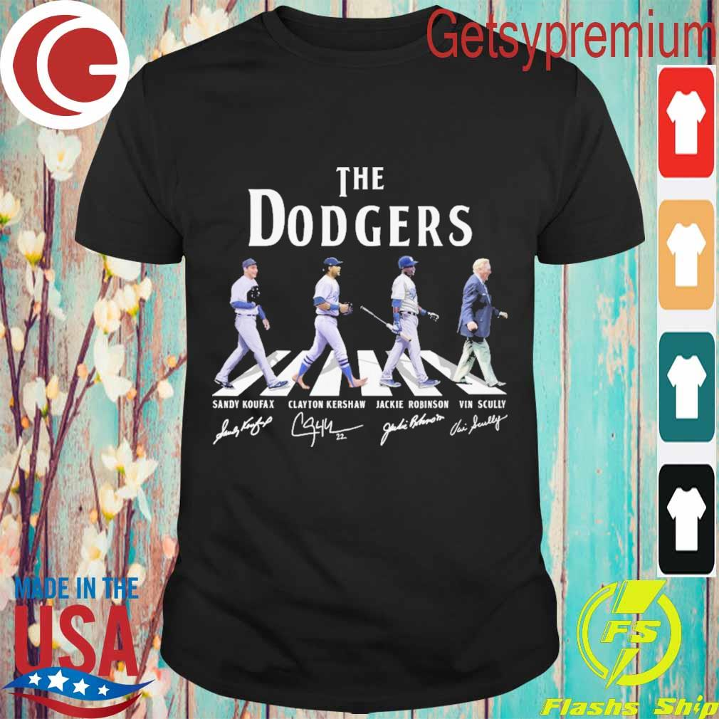 The Dodgers Sandy Koufax Clayton Kershaw Jackie Robinson Vin Scully signatures road shirt