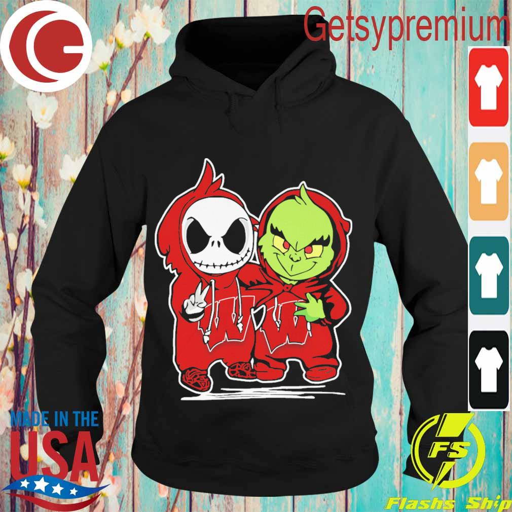 Baby Jack Skellington and Baby Grinch Wisconsin Badgers football s Hoodie
