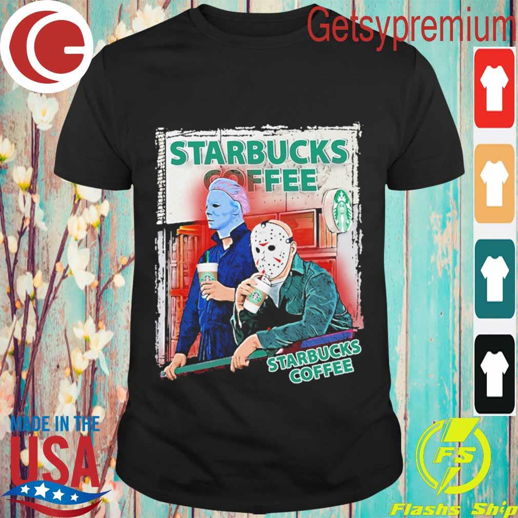 Jason Voorhees and Michael Myers drink Starbucks Coffee shirt