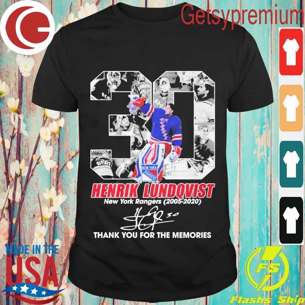 30 Henrik Lundqvist New York Rangers 2005 2020 thank signature shirt
