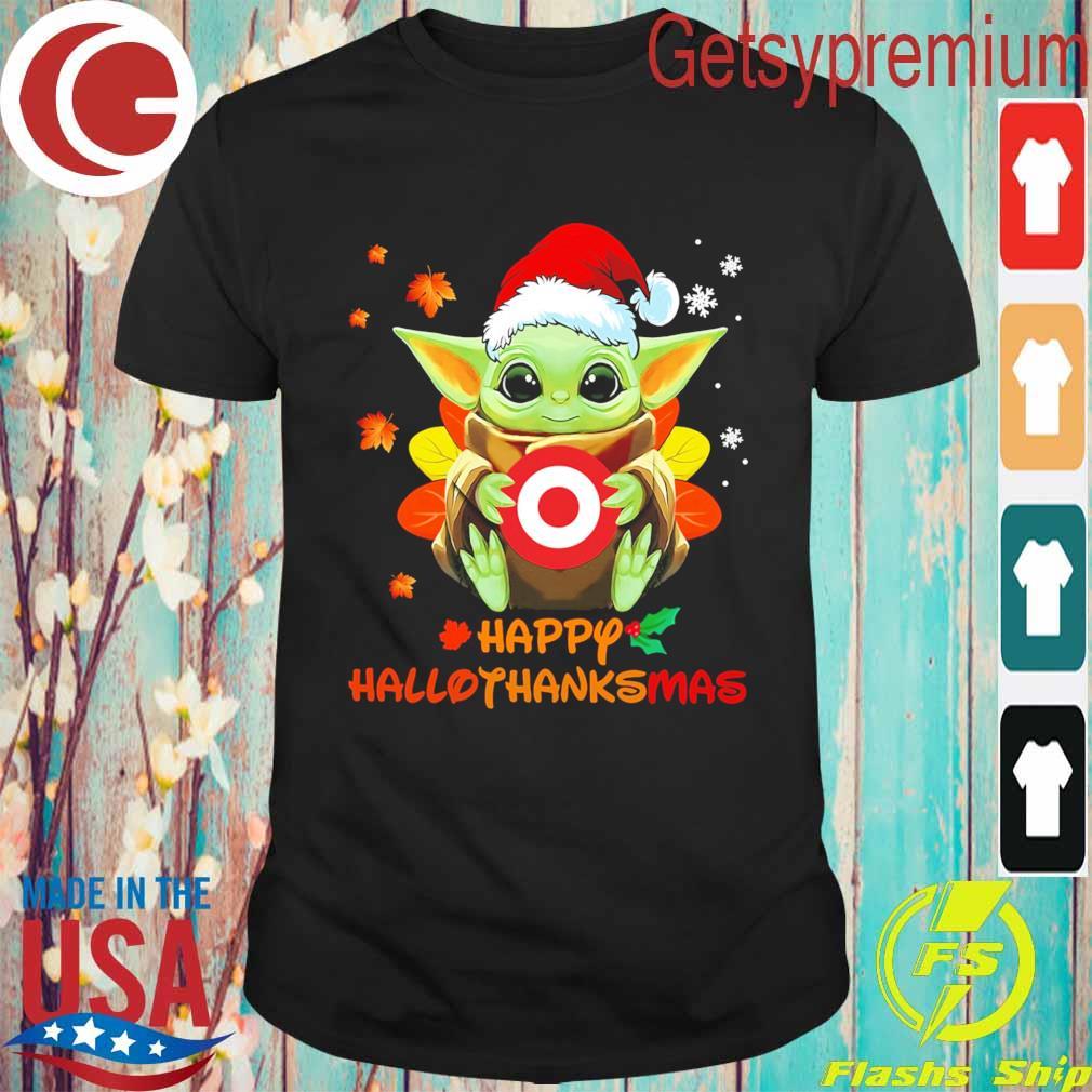 Baby Yoda hug Target Corp happy Hallothanksmas shirt