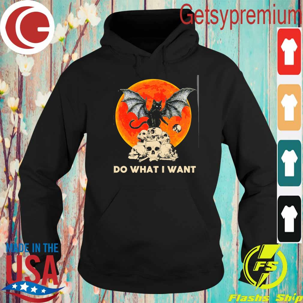 Bat and Black Cat Skull Do what I want moon Halloween s Hoodie