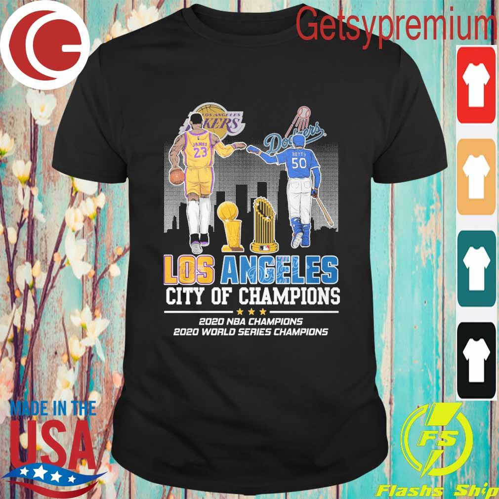 Lebron James Los Angeles Lakers vs Mookie Betts Los Angeles Dodgers City of Champions 2020 shirt