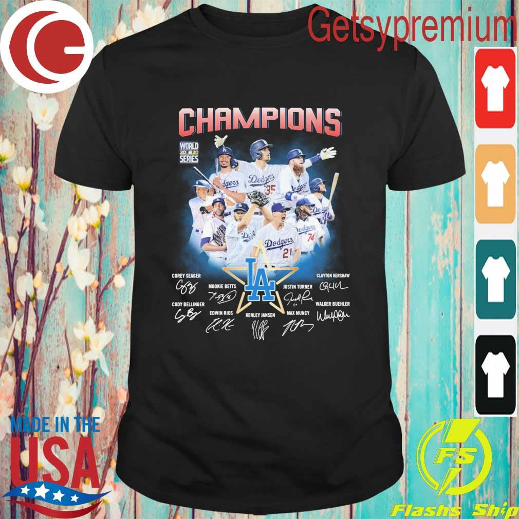 Los Angeles Dodgers Champions Corey Seager Mookie Betts Max Muncy signatures shirt