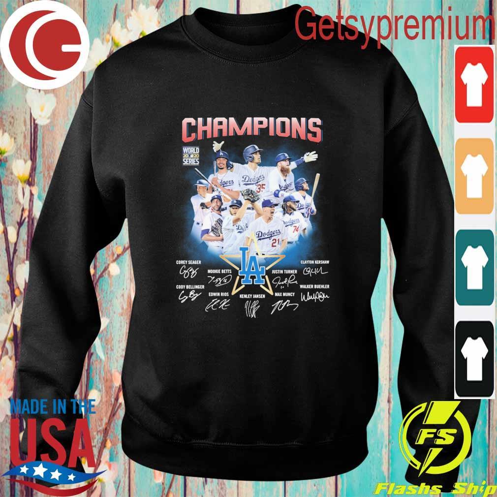 Los Angeles Dodgers Champions Corey Seager Mookie Betts Max Muncy signatures s Sweatshirt
