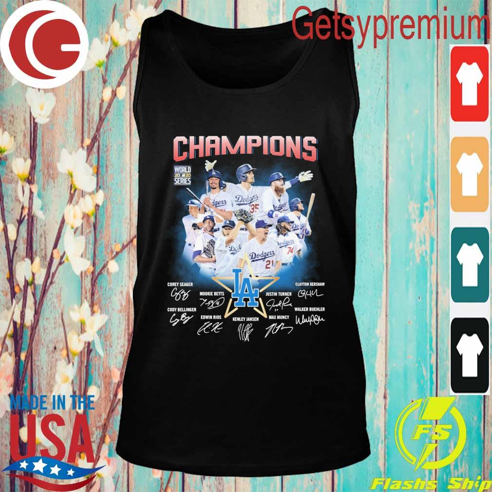 Los Angeles Dodgers Champions Corey Seager Mookie Betts Max Muncy signatures s Tank top