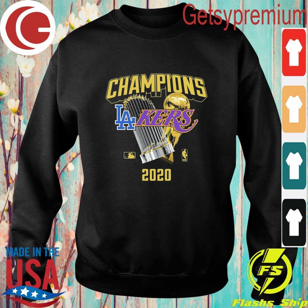 Los Angeles Dodgers Lakers 2020 World Champions Trophies s Sweatshirt