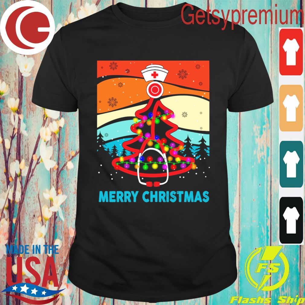 Nurse tree light Merry Christmas vintage shirt