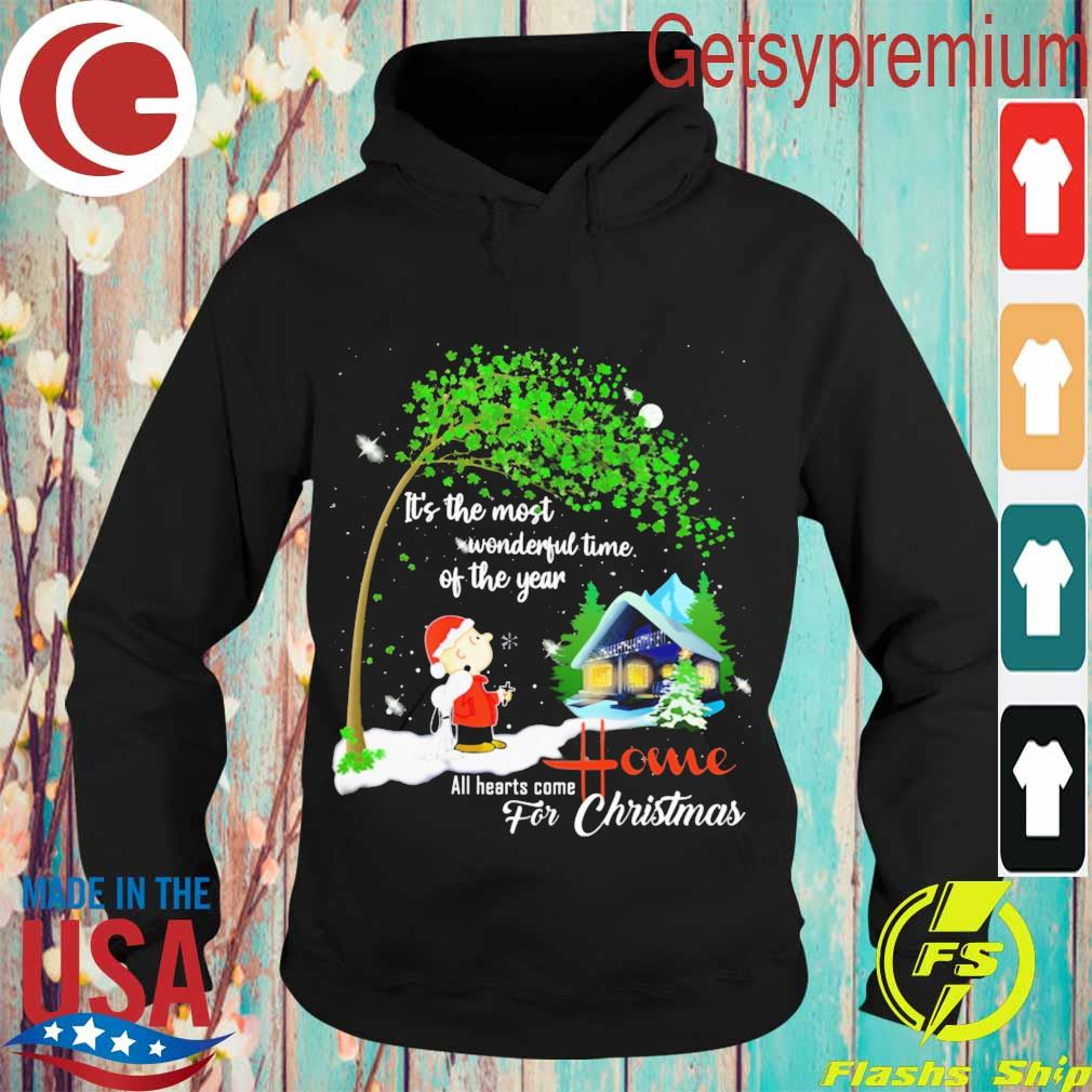 Snoopy and Charlie Brown It's the most wonderful time of the year all hearts come Home for Christmas s Hoodie