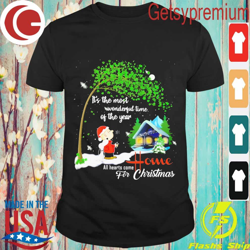 Snoopy and Charlie Brown It's the most wonderful time of the year all hearts come Home for Christmas shirt