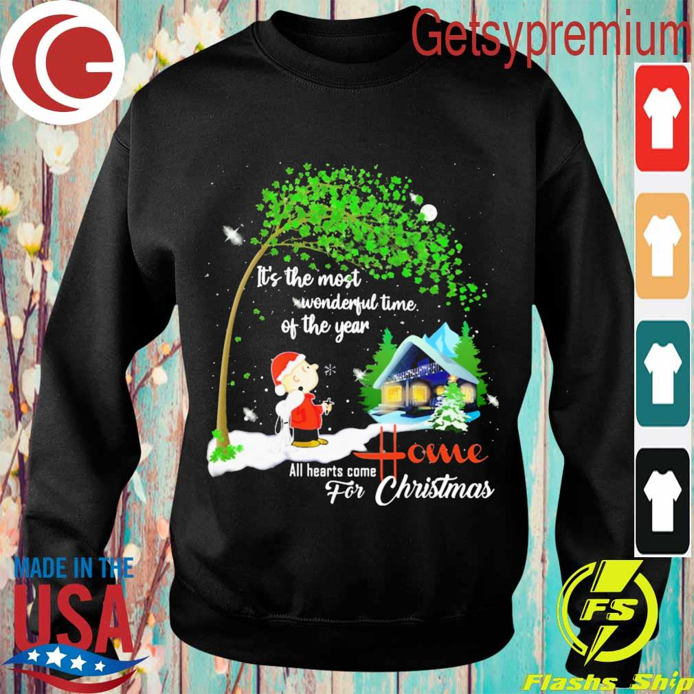Snoopy and Charlie Brown It's the most wonderful time of the year all hearts come Home for Christmas s Sweatshirt