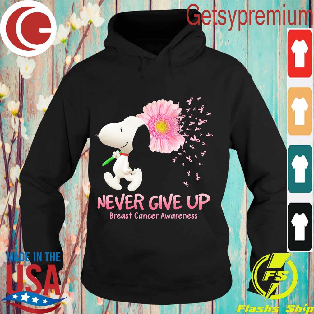 Snoopy floral never give up breast cancer awareness s Hoodie