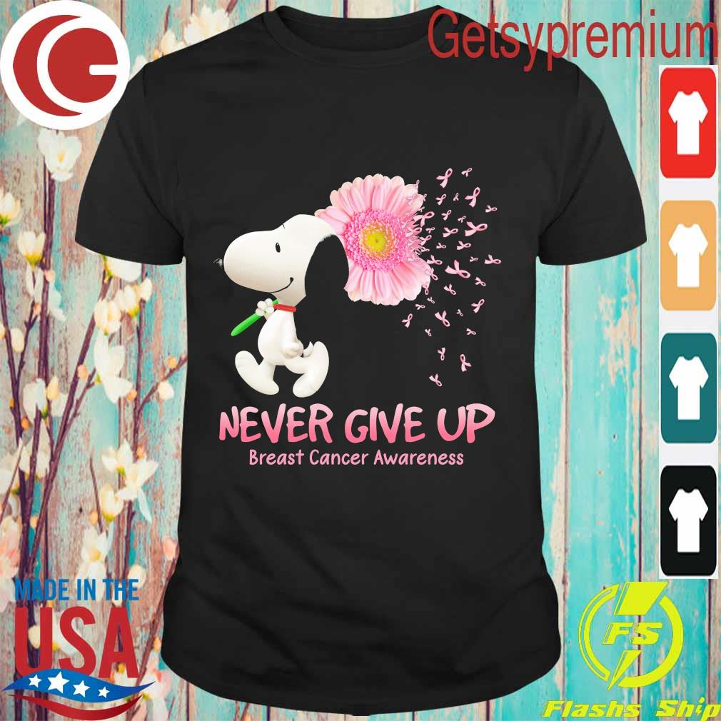Snoopy floral never give up breast cancer awareness shirt