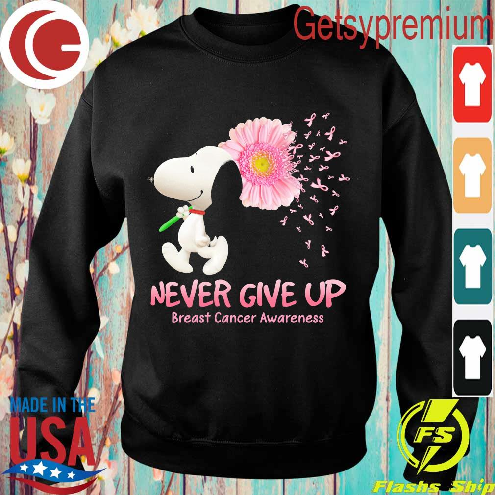 Snoopy floral never give up breast cancer awareness s Sweatshirt