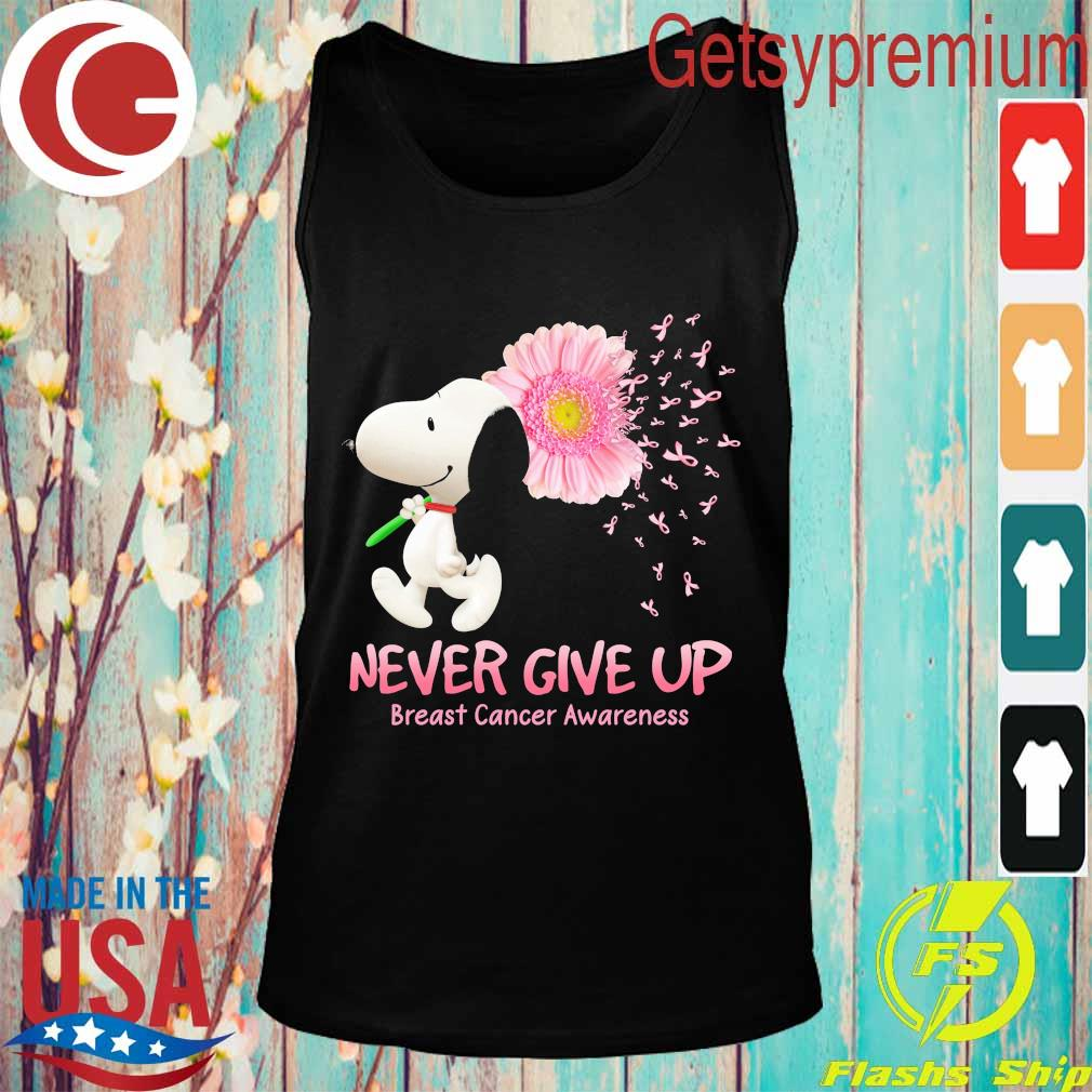 Snoopy floral never give up breast cancer awareness s Tank top