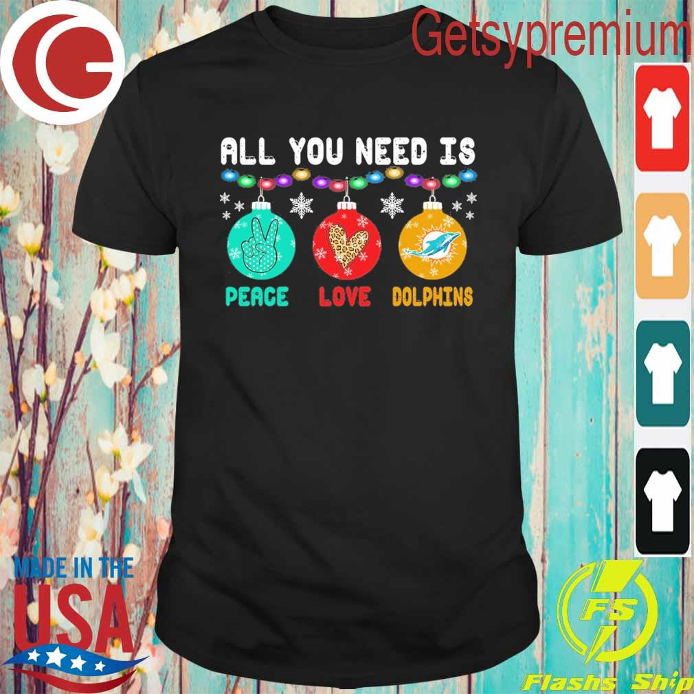All You need is Peace love Miami Dolphins Merry Christmas light sweater
