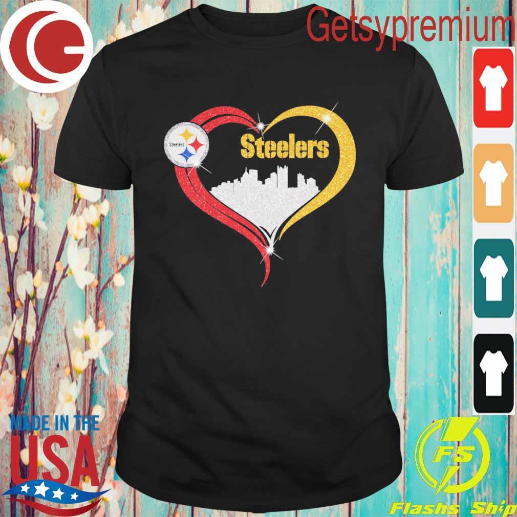 Diamond Love Pittsburgh Steelers city heart shirt