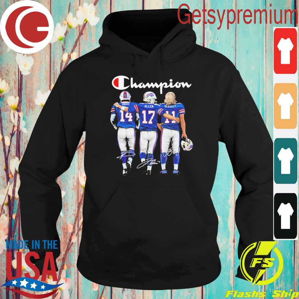 Buffalo Bill Stefon Diggs Josh Allen and Cole Beasley MVP Champion 2020 signatures s Hoodie
