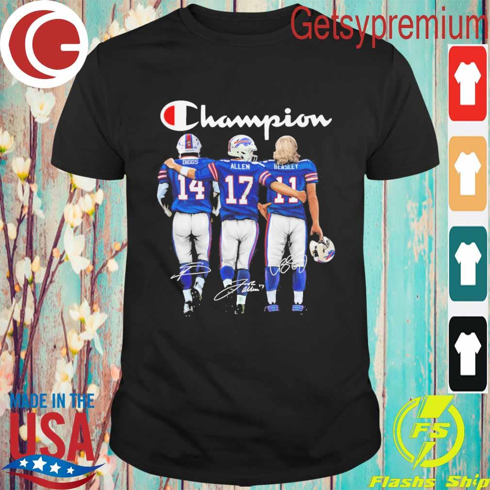 Buffalo Bill Stefon Diggs Josh Allen and Cole Beasley MVP Champion 2020 signatures shirt