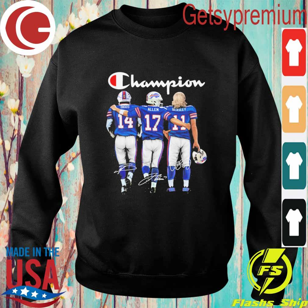 Buffalo Bill Stefon Diggs Josh Allen and Cole Beasley MVP Champion 2020 signatures s Sweatshirt