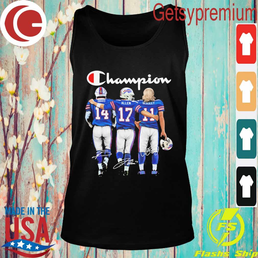Buffalo Bill Stefon Diggs Josh Allen and Cole Beasley MVP Champion 2020 signatures s Tank top
