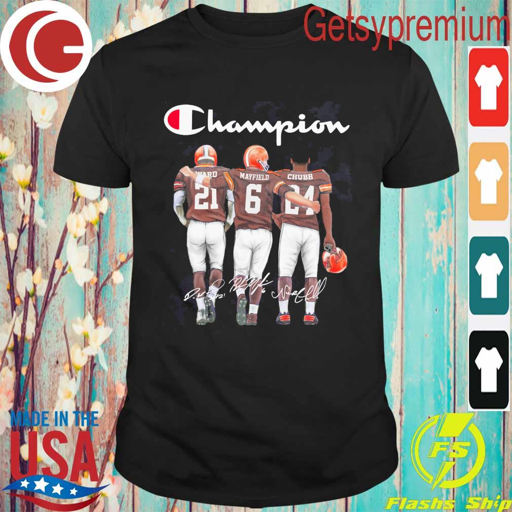 Cleveland Browns Nick Chubb Baker Mayfield and Denzel Ward Mvp Champion signatures shirt