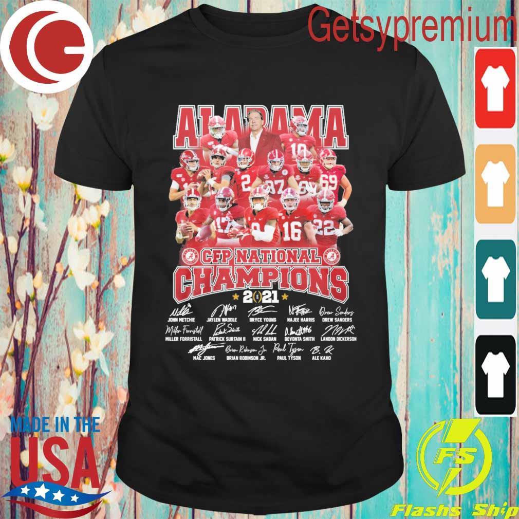 Official Alabama Crimson Tide CFP National Champions 2021 signatures tee shirt