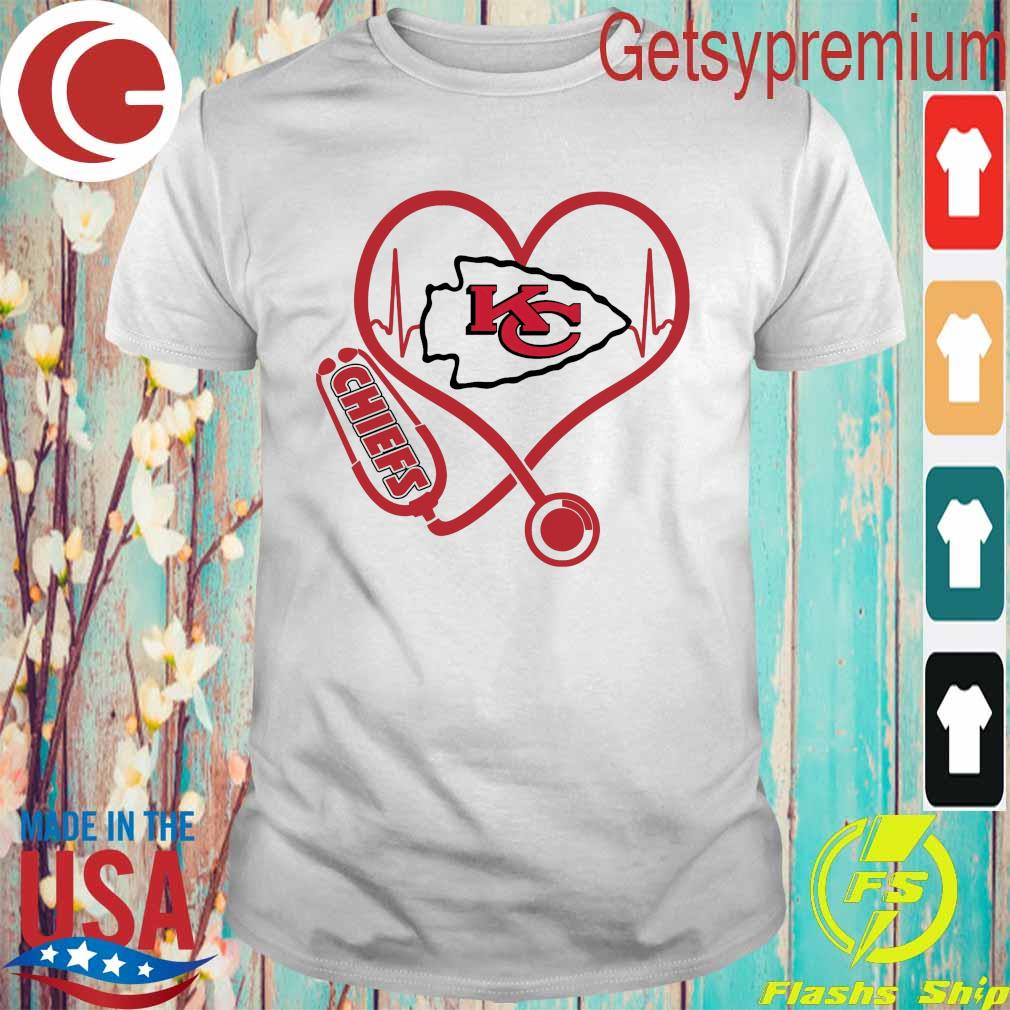 Official Kansas City Chiefs Nurse Stethoscope heart shirt